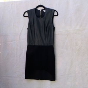 Helmut Lang Black Leather Knit Sleeveless Dress